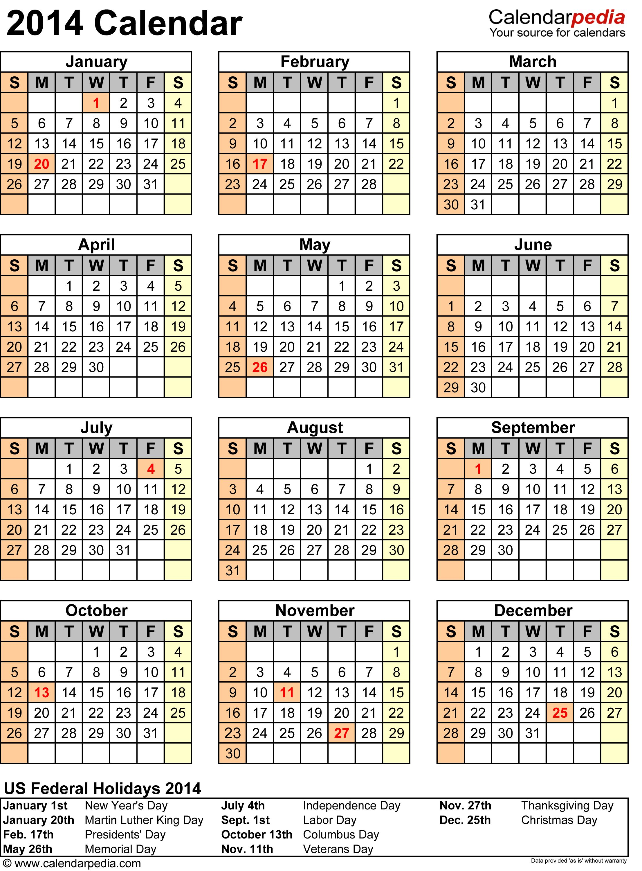 2014 Calendar With Federal Holidays Excelpdfword Templates