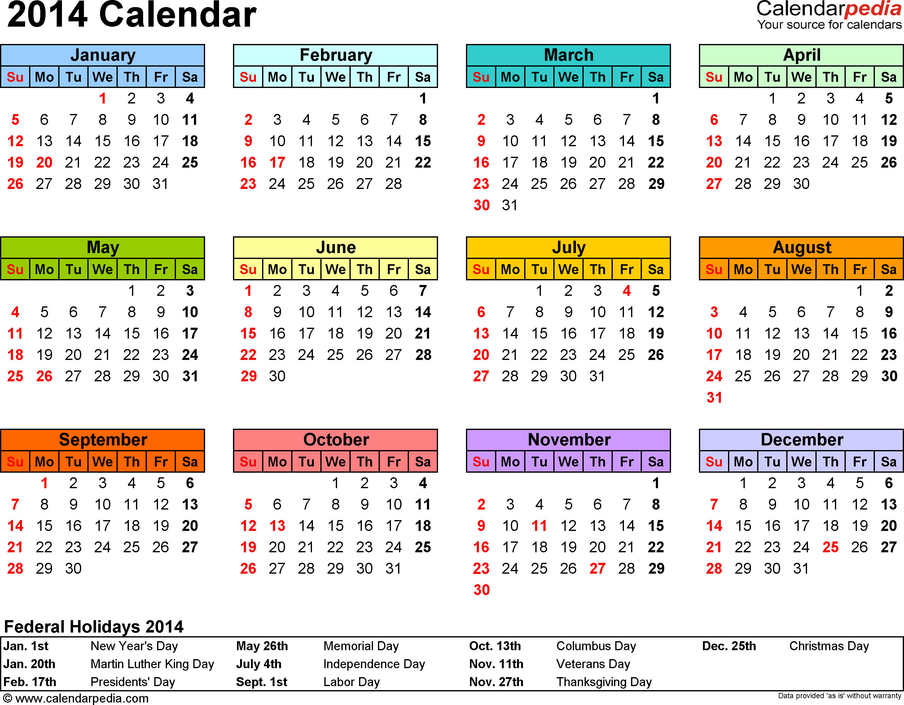Template 7: 2014 Calendar for PDF, year at a glance, 1 page, in color