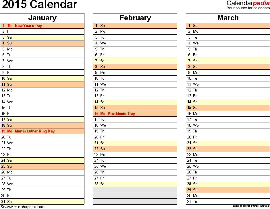 Download Word template for 2015 calendar template 6: landscape orientation, 4 pages, months horizontally, days vertically, with US federal holidays 2015, paper format: US letter