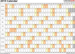 Template 6: 2015 Calendar for PDF, days horizontally (linear), 1 page, landscape orientation