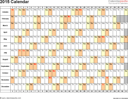 Template 3: 2015 Calendar for Word, days horizontally (linear), 1 page, landscape orientation