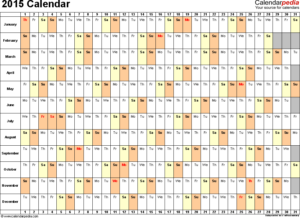 Download Excel template for 2015 calendar template 3: landscape orientation, 1 page, days horizontally, months vertically, with US federal holidays 2015, paper format: US letter