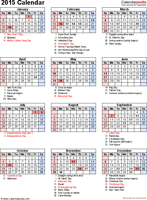 Download Excel template for 2015 calendar template 16: portrait orientation, 1 page, with US federal holidays, observances, festivals and celebrations