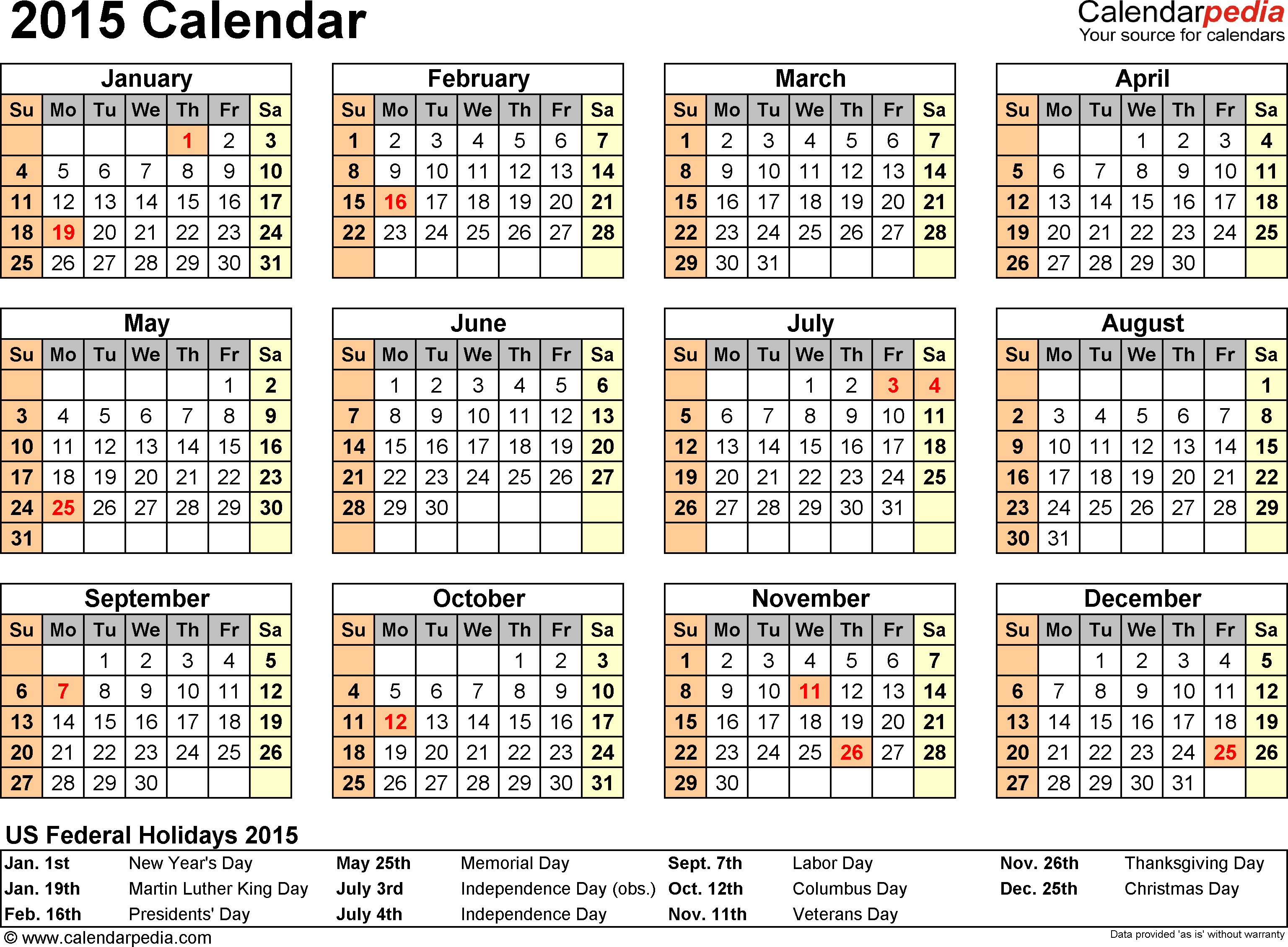 Download PDF template for 2015 calendar template 7: year overview, 1 page, with US federal holidays 2015, paper format: US letter