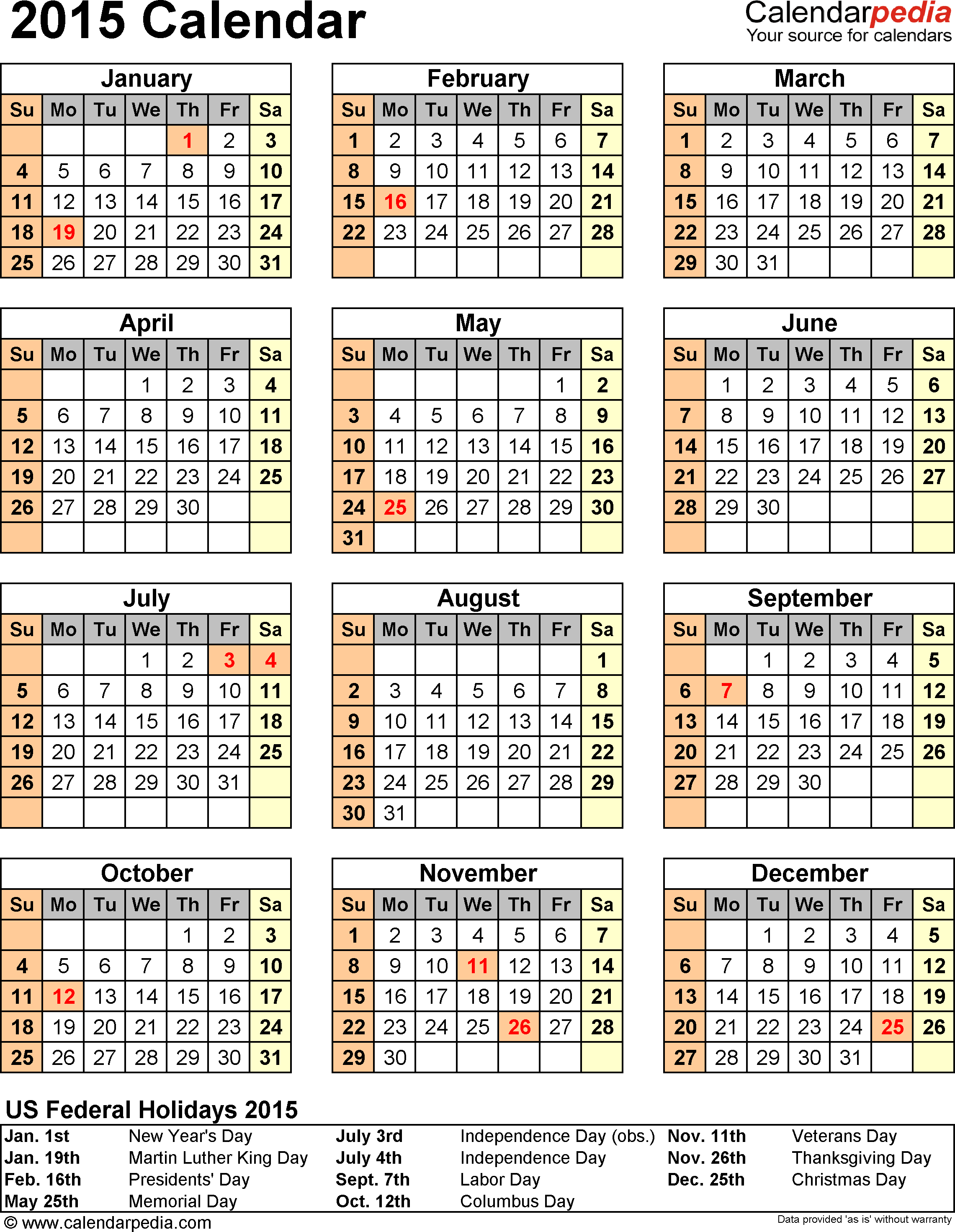 Download PDF template for 2015 calendar template 11: portrait orientation, 1 page, with US federal holidays 2015, with US federal holidays 2015, paper format: US letter