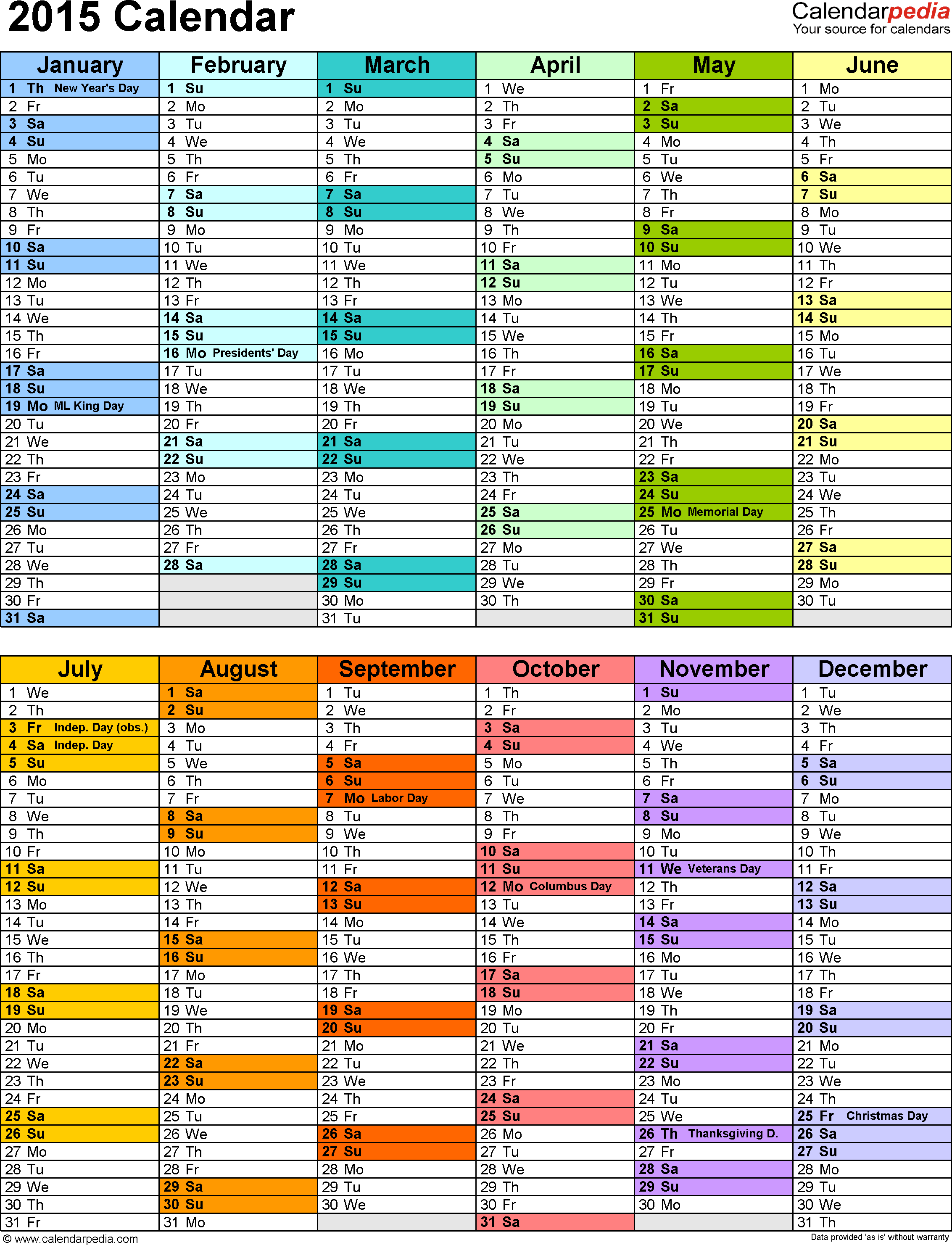 2015 Calendar Excel - Download 16 free printable templates (.xlsx)