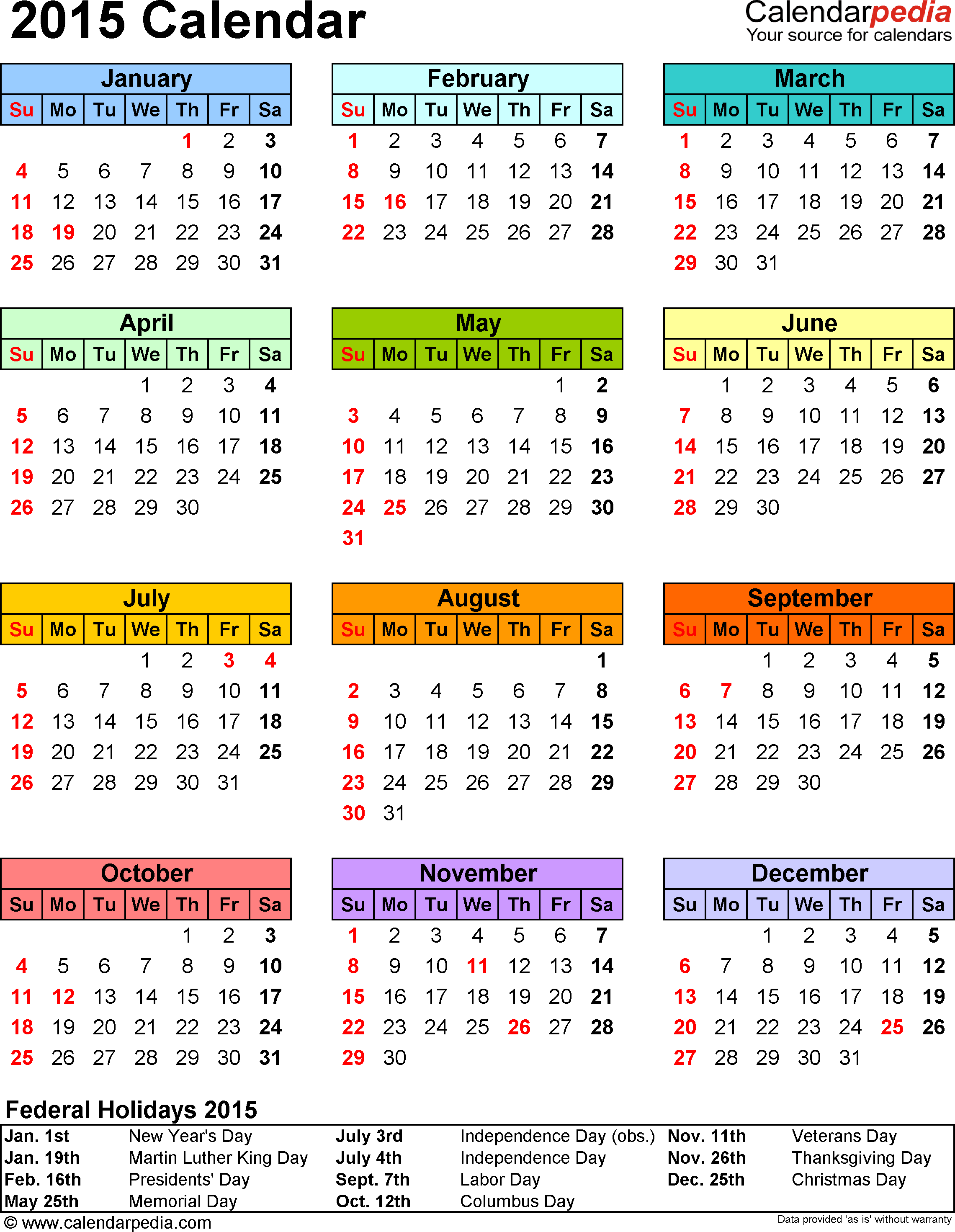 Template 13: 2015 Calendar For Excel, 1 Page, Portrait Orientation, In Color
