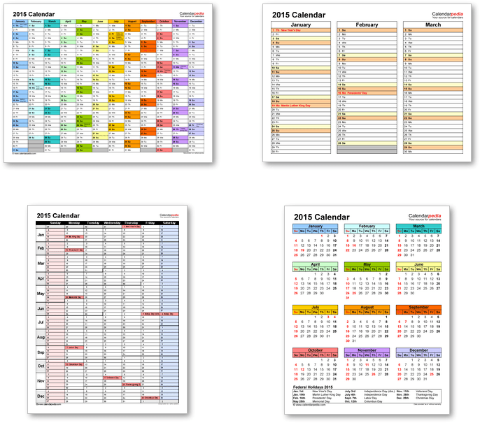 Calendar templates 2015 for Word, Excel and PDF
