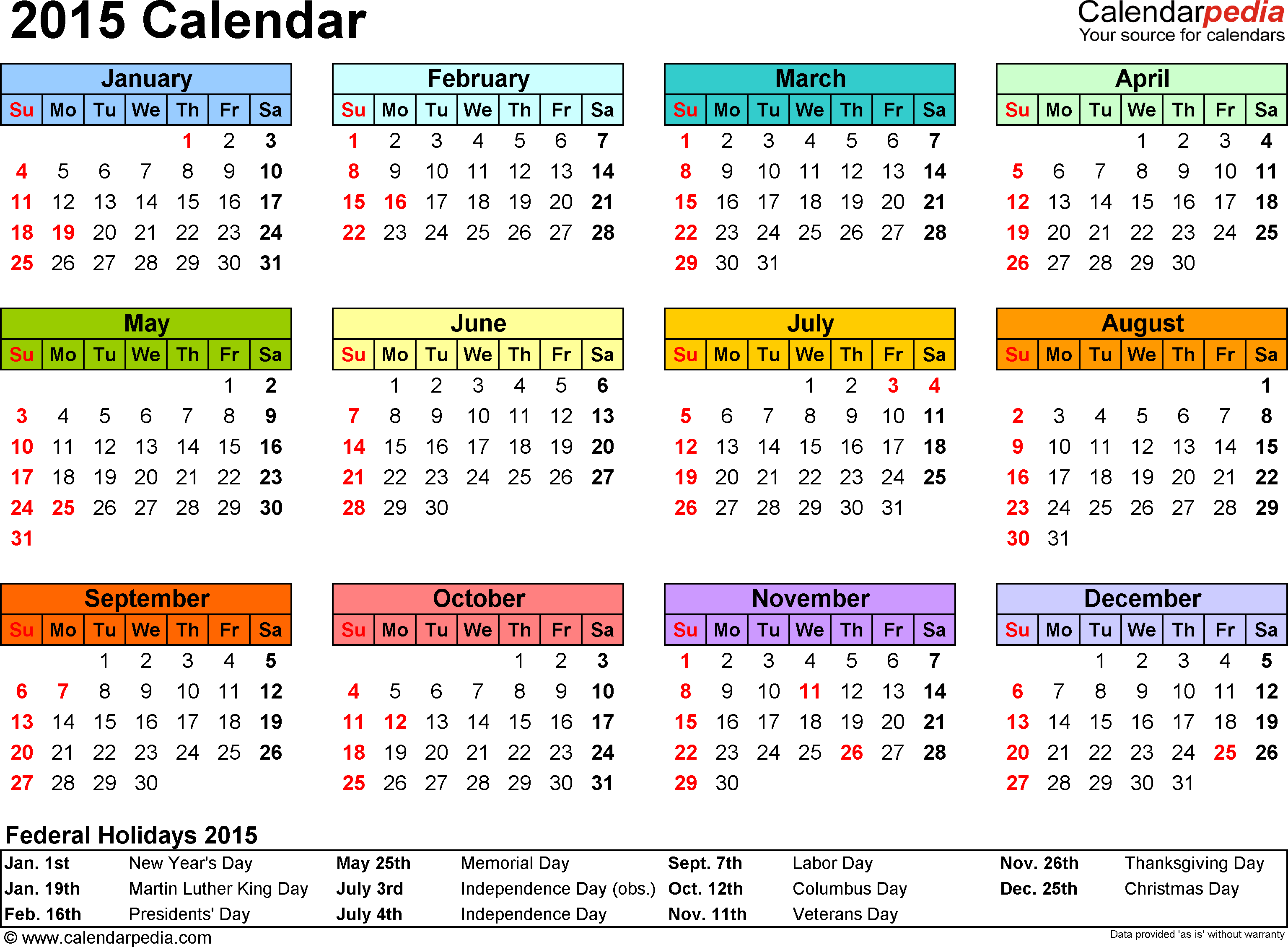 Template 7: 2015 Calendar for Excel, year at a glance, 1 page, in color