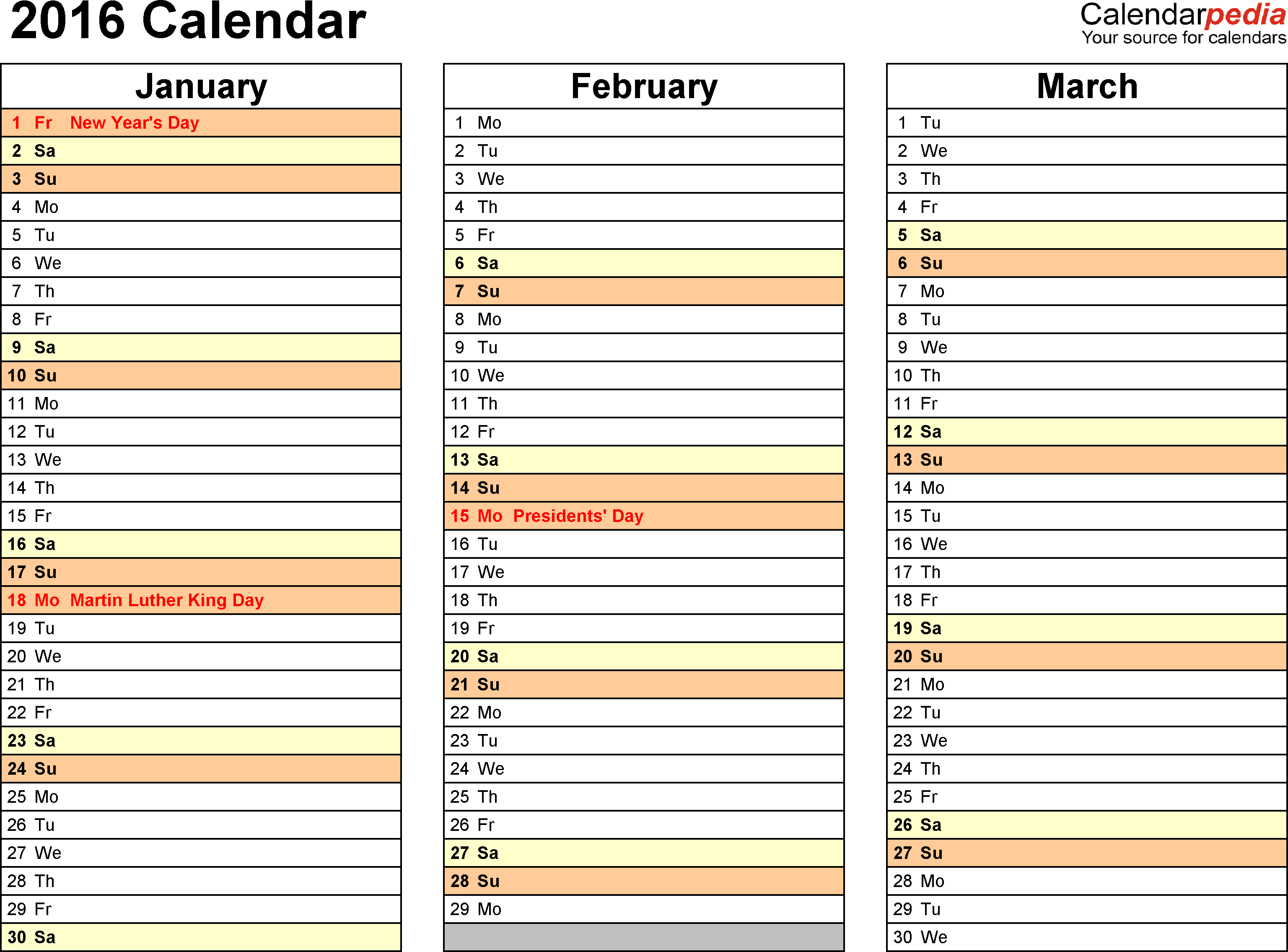 Template 6: 2016 Calendar for Excel, months horizontally, 4 pages, landscape orientation