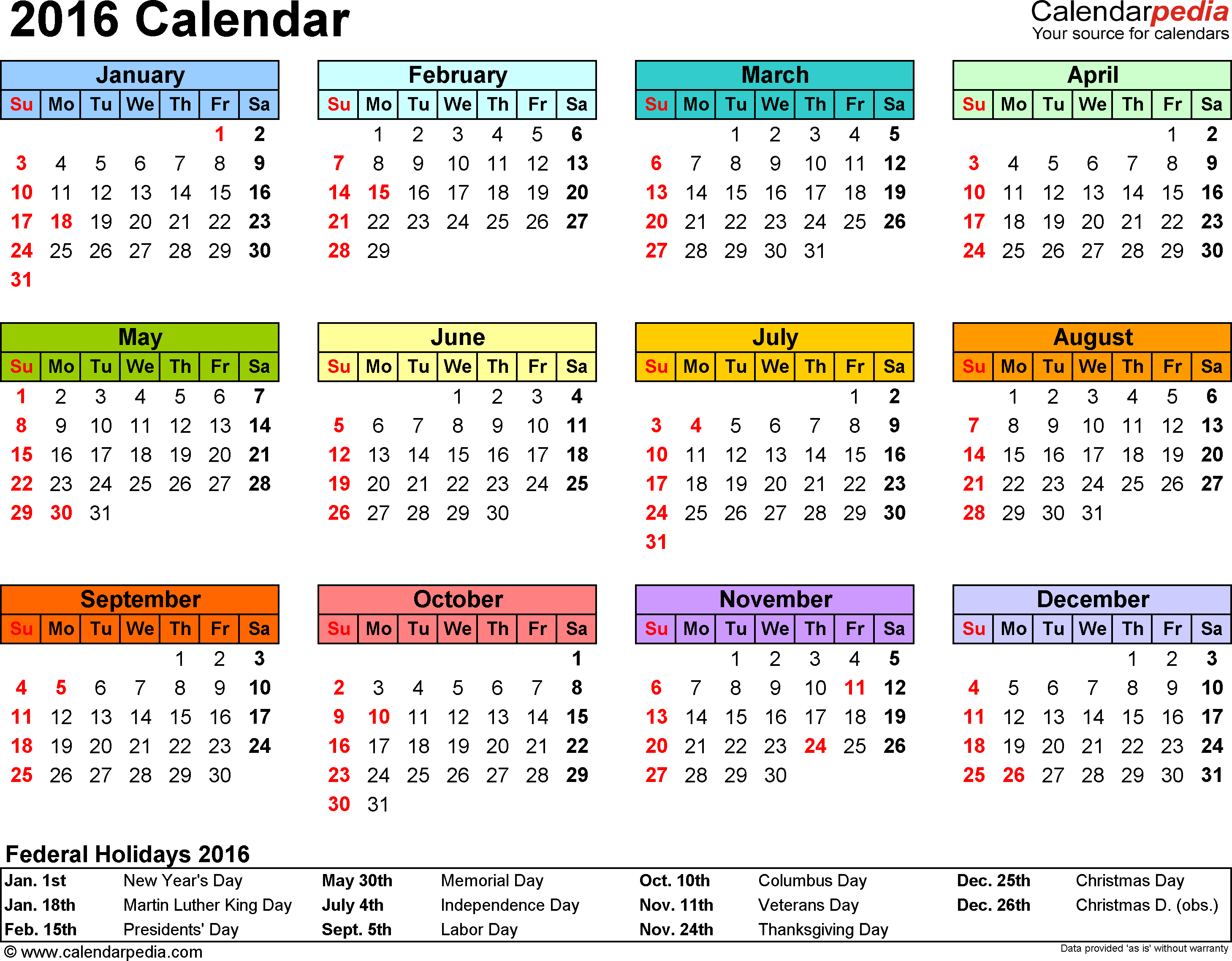 template 7 2016 calendar for excel year at a glance 1 page