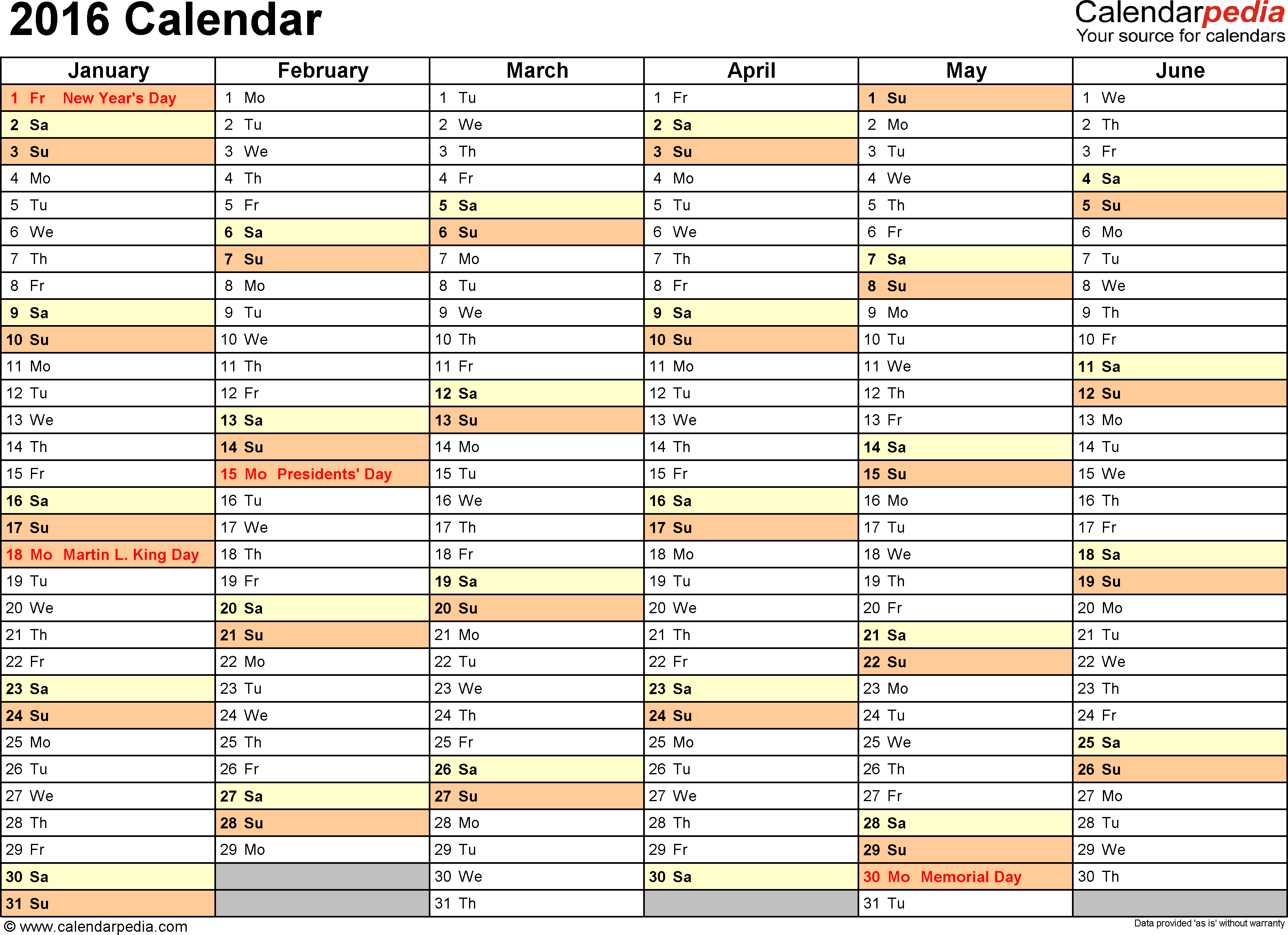 Template 4: 2016 Calendar for Excel, months horizontally, 2 pages, landscape orientation