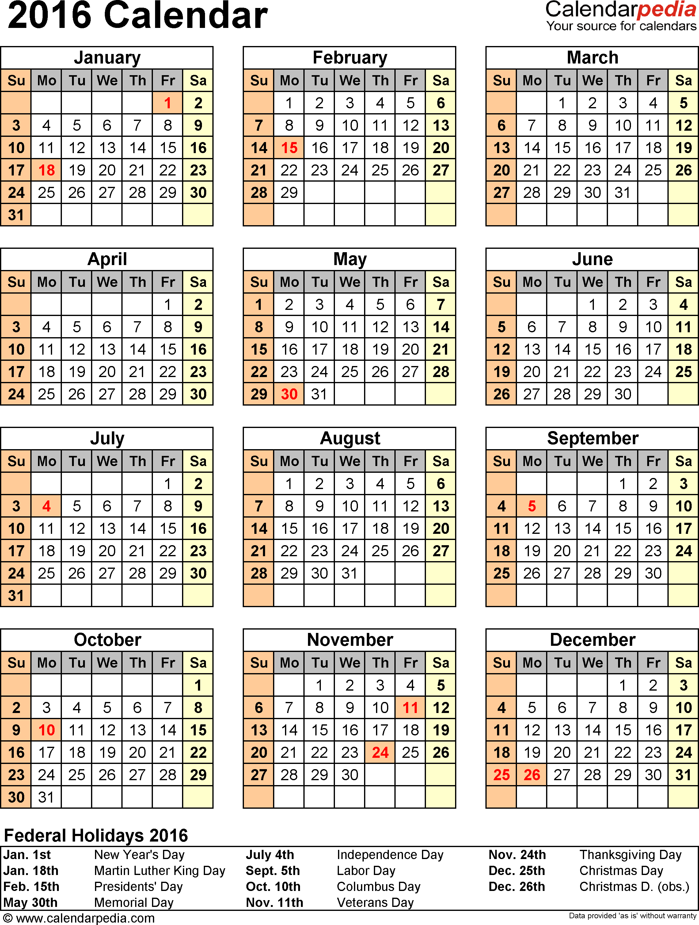 Template 10: 2016 Calendar for Excel, year at a glance, 1 page, portrait orientation