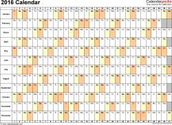 Template 6: 2016 Calendar for PDF, days horizontally (linear), 1 page, landscape orientation