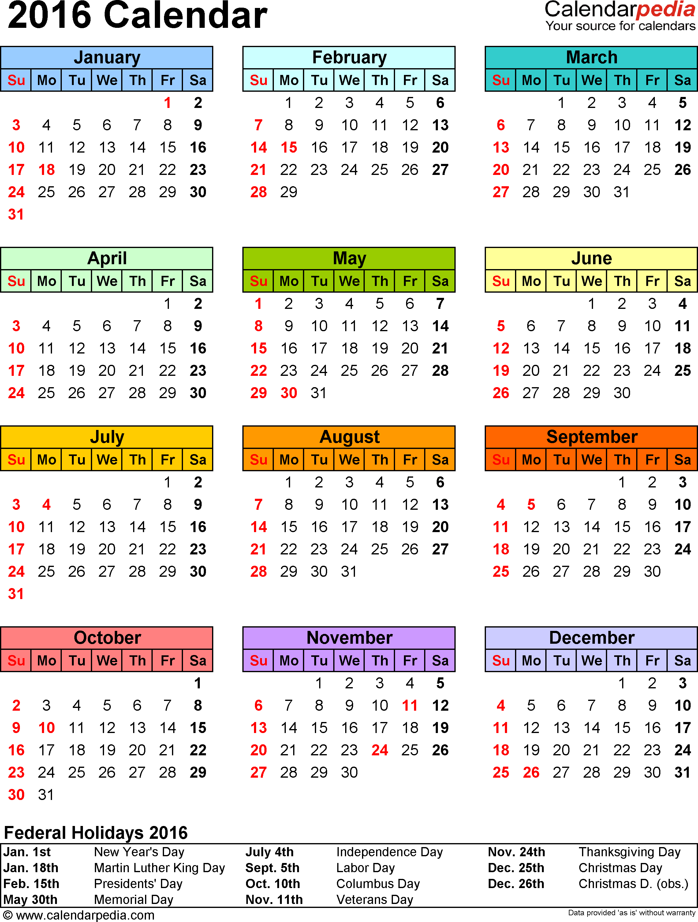 Template 14: 2016 Calendar for Excel, year at a glance, 1 page, in color, portrait orientation