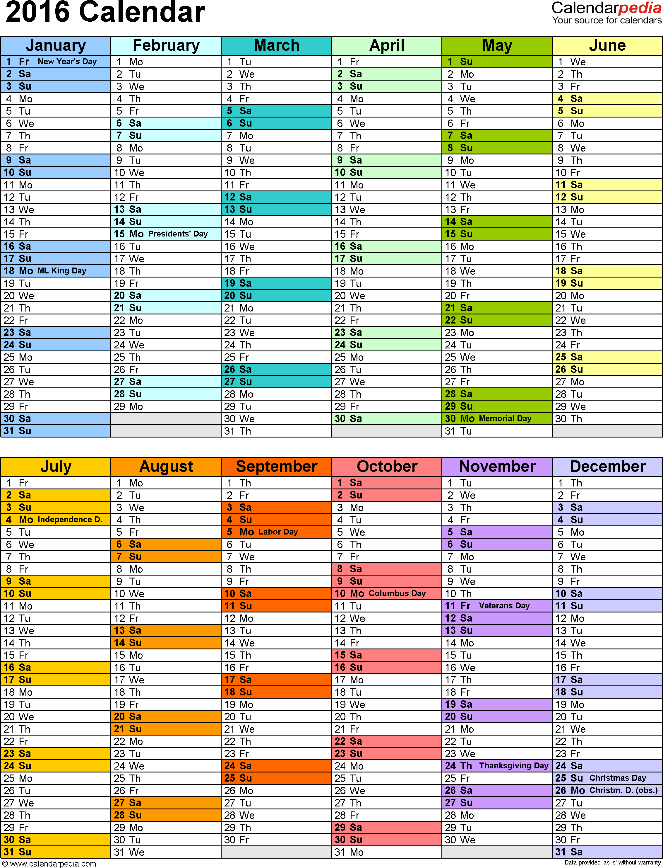 2016 Calendar - Download 16 free printable Excel templates (.xlsx)