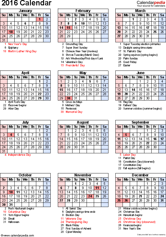 Download Excel template for 2016 calendar template 16: portrait orientation, 1 page, with US federal holidays, observances, festivals and celebrations