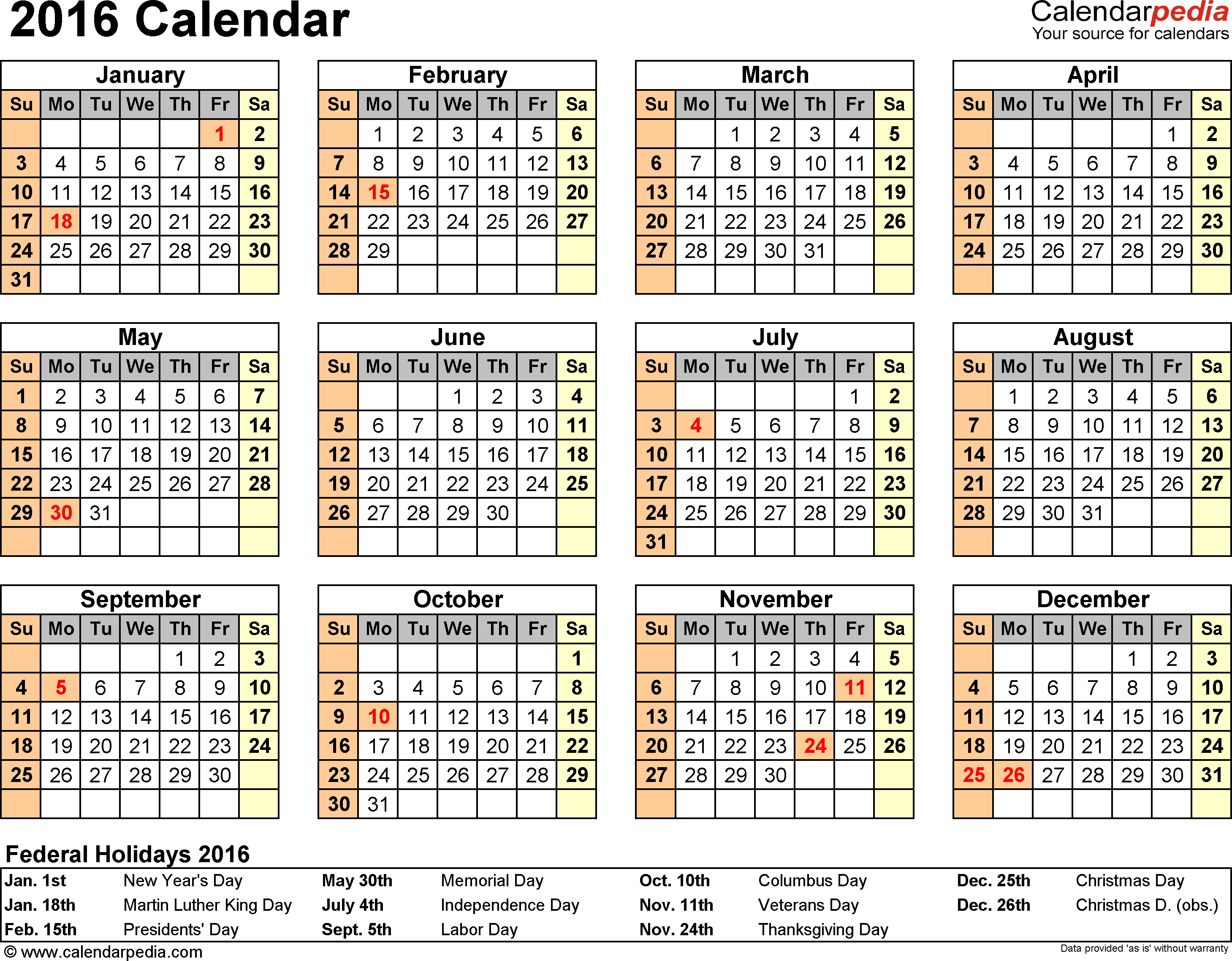 Template 8: 2016 Calendar for Excel, year at a glance, 1 page, landscape orientation