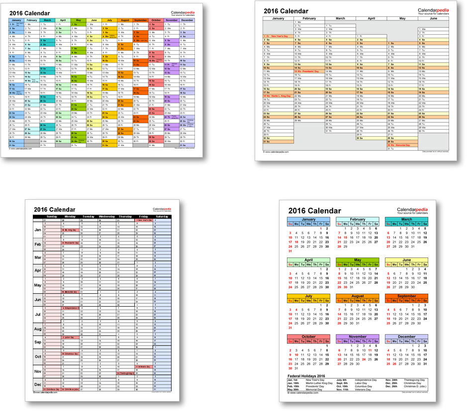 Calendar templates 2016 for Word, Excel & PDF