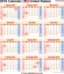 2015 2016 Calendar with Holidays Printable