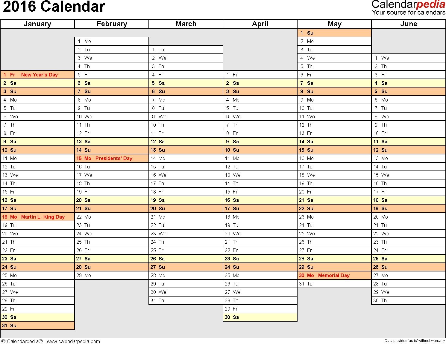 Template 4: 2016 Calendar for Excel, months horizontally, 2 pages, days of the week in line/linear, landscape orientation