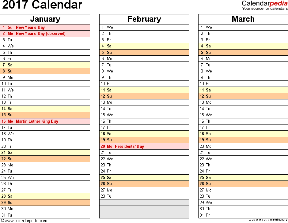 2017 Calendar Download 17 Free Printable Excel Templates Xlsx