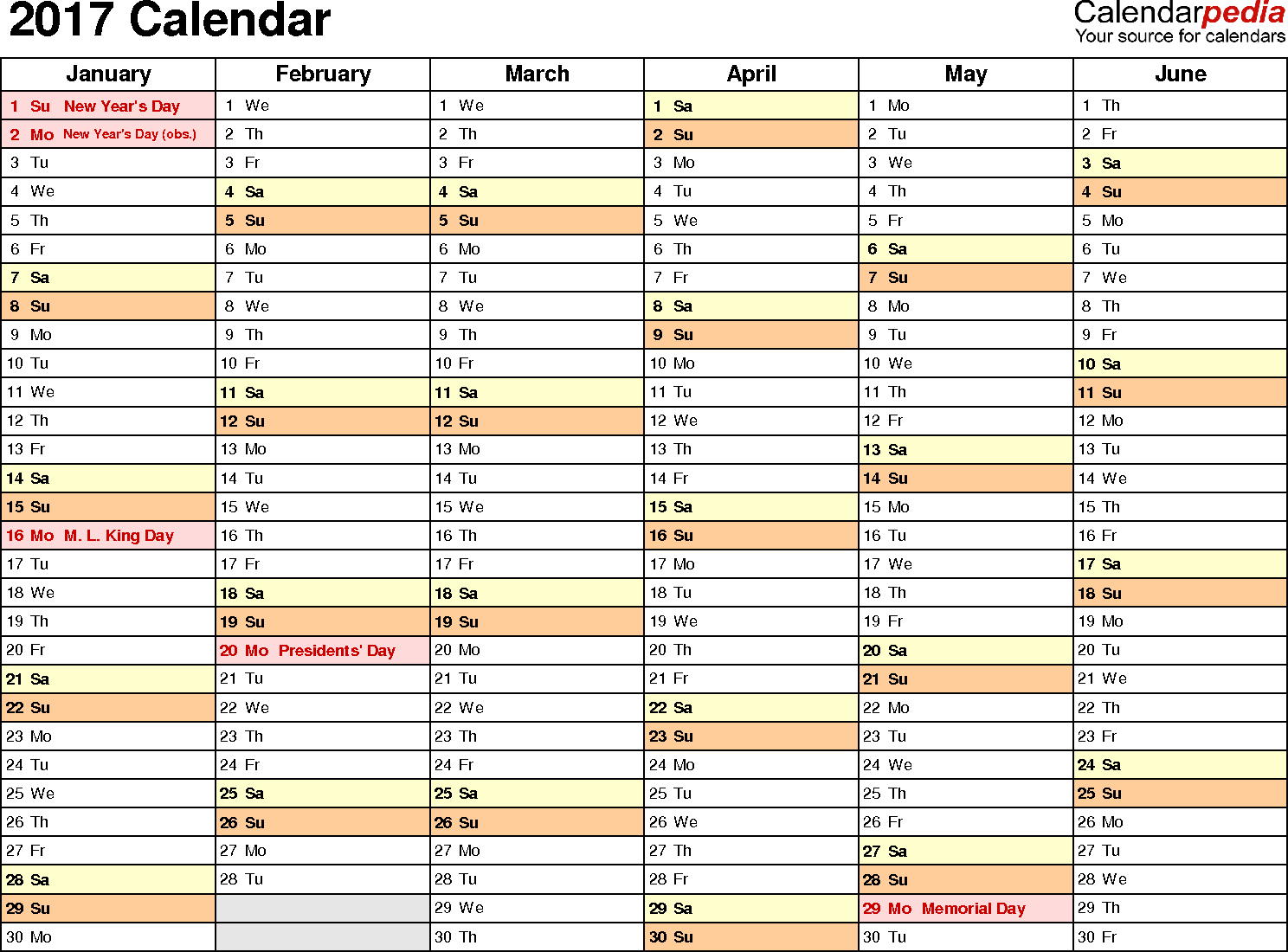 2017 Calendar - Download 17 free printable Excel templates (.xlsx)
