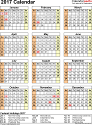 Template 11: 2017 Calendar for Excel, year at a glance, 1 page, portrait orientation