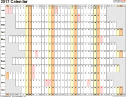 Template 7: 2017 Calendar for Excel, linear (days horizontally), 1 page, landscape orientation, days aligned