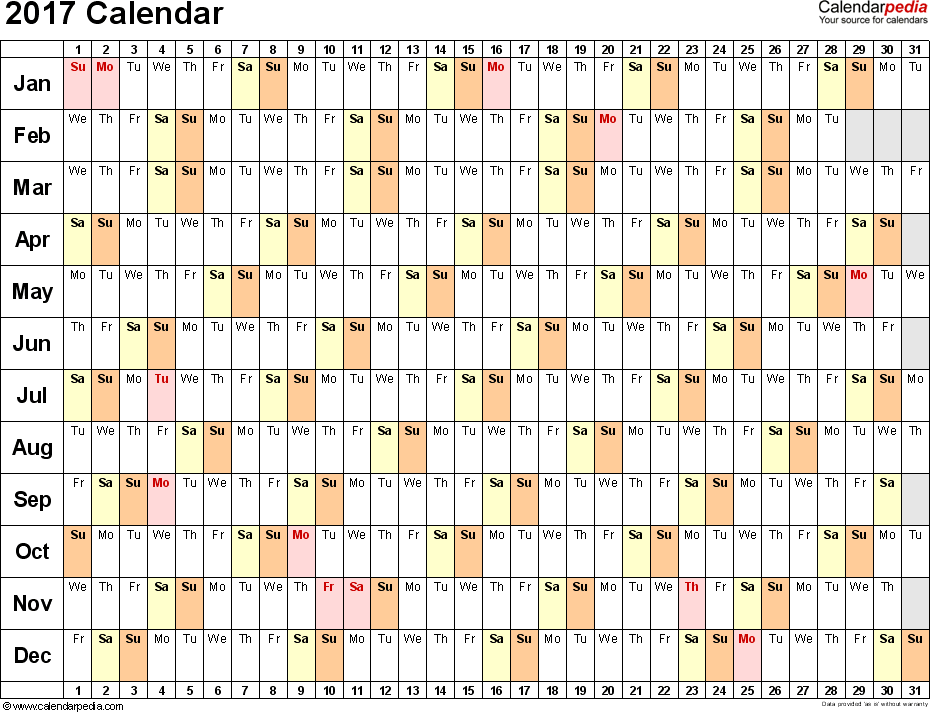 Template 3: 2017 Calendar for Excel, linear (days horizontally), 1 page, landscape orientation
