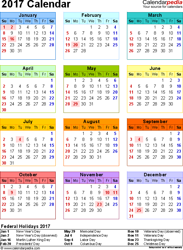 2017 Calendar with Federal Holidays