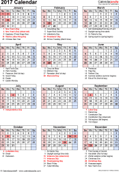 Download Excel template for 2017 calendar template 17: portrait orientation, 1 page, with US federal holidays, observances, festivals and celebrations