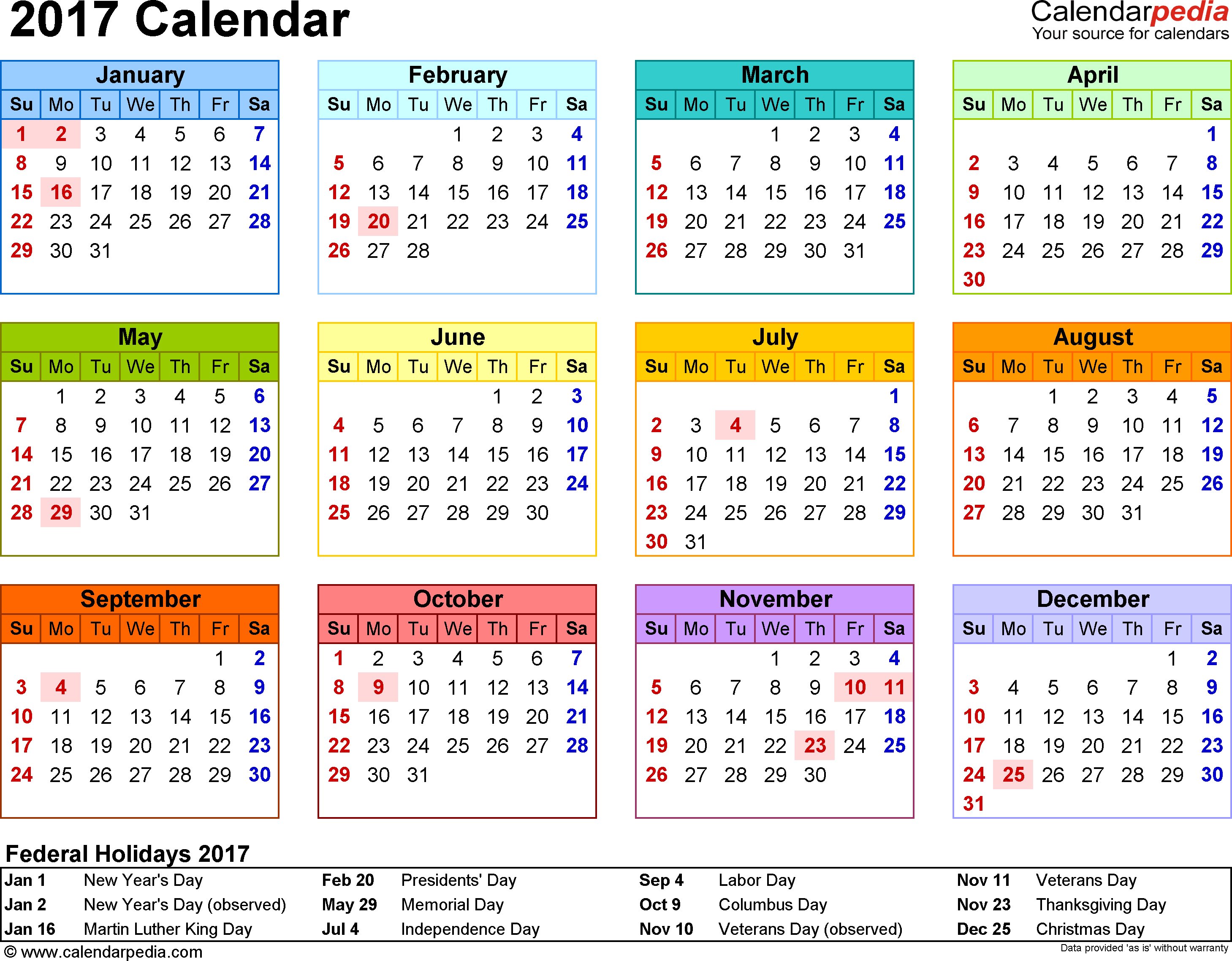 Calendar of 2017 (With Federal Public Holidays of USA) – Printable ...