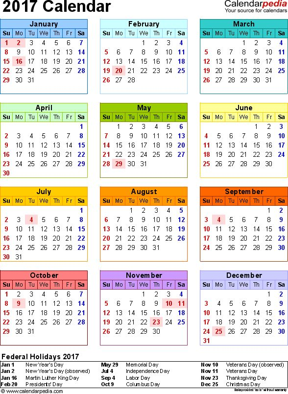 2017 Calendar With Federal Holidays & Excel/Pdf/Word Templates
