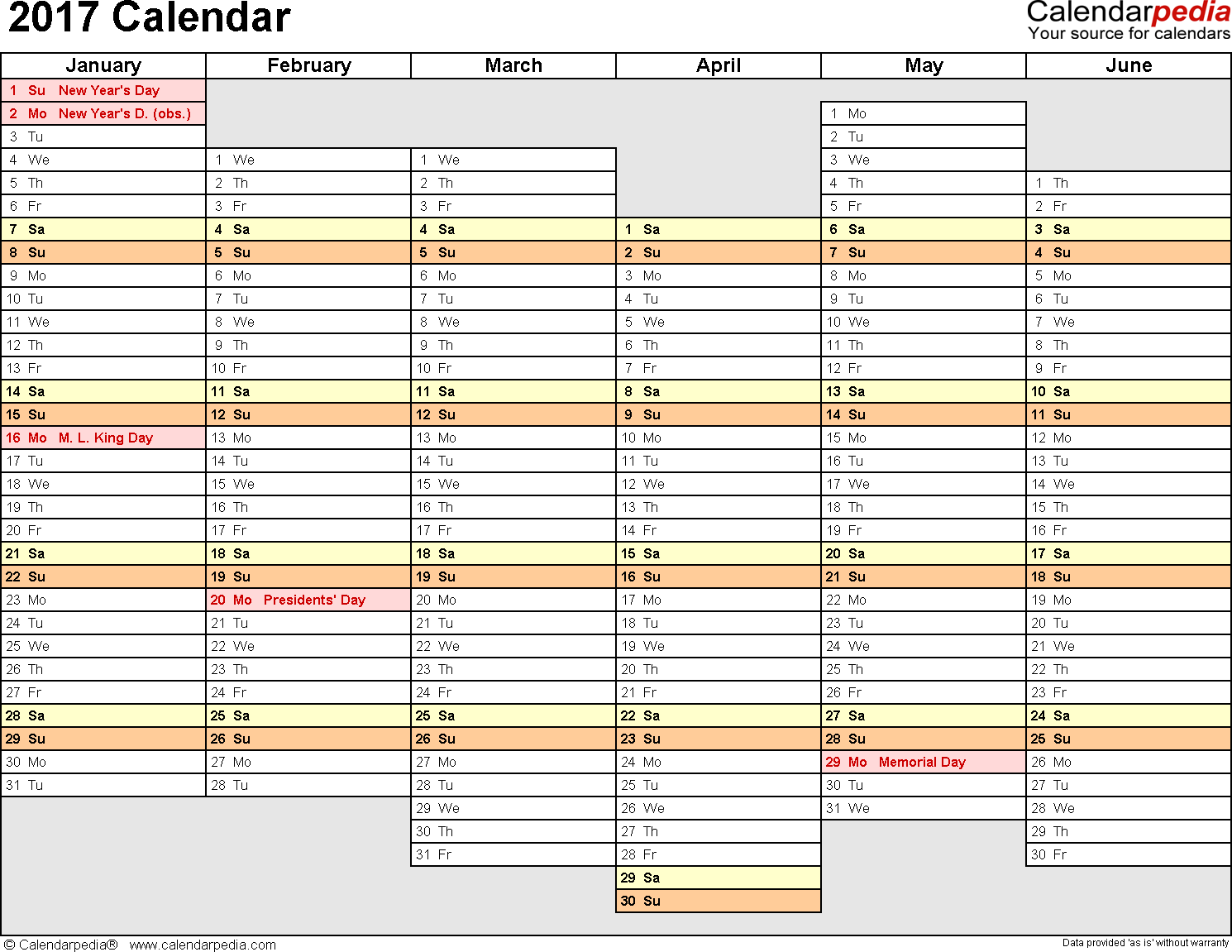 Template 4: 2017 Calendar for Excel, months horizontally, 2 pages, days of the week aligned/linear, landscape orientation
