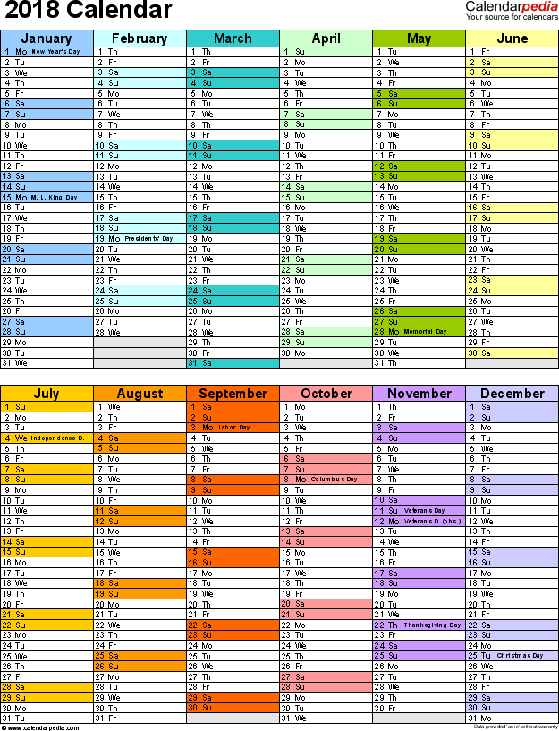 2018 calendar download 17 free printable excel templates xlsx