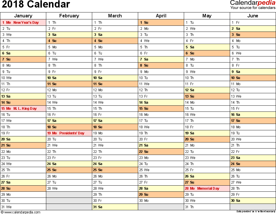 Template 3: 2018 Calendar for Excel, months horizontally, 2 pages, landscape orientation