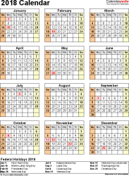 Template 11: 2018 Calendar for Excel, year at a glance, 1 page, portrait orientation