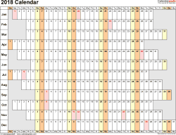 Template 4: 2018 Calendar for PDF, linear (days horizontally), 1 page, landscape orientation, days aligned