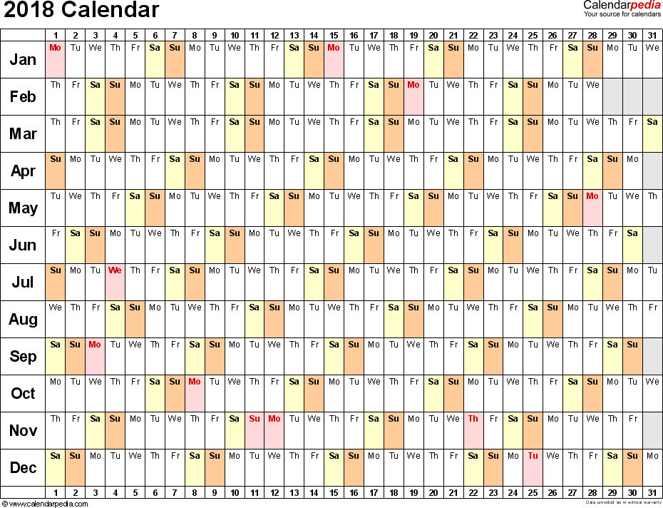 Template 3: 2018 Calendar for Excel, linear (days horizontally), 1 page, landscape orientation
