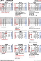 Download Word template for 2018 calendar template 17: portrait orientation, 1 page, with US federal holidays, observances, festivals and celebrations