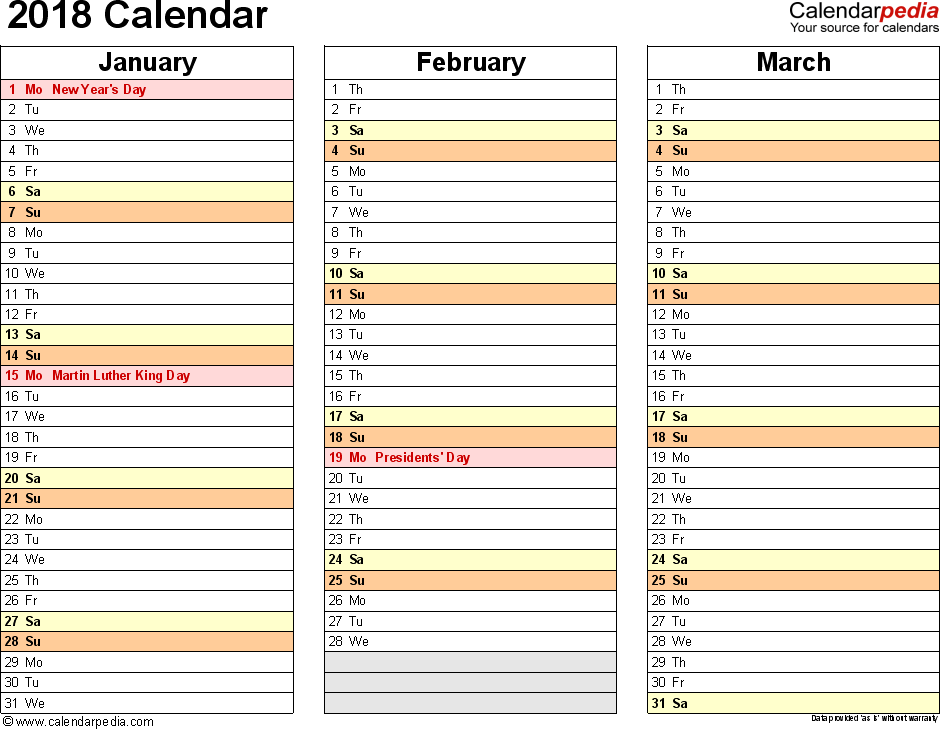 Template 7: 2018 Calendar for PDF, months horizontally, 4 pages, landscape orientation