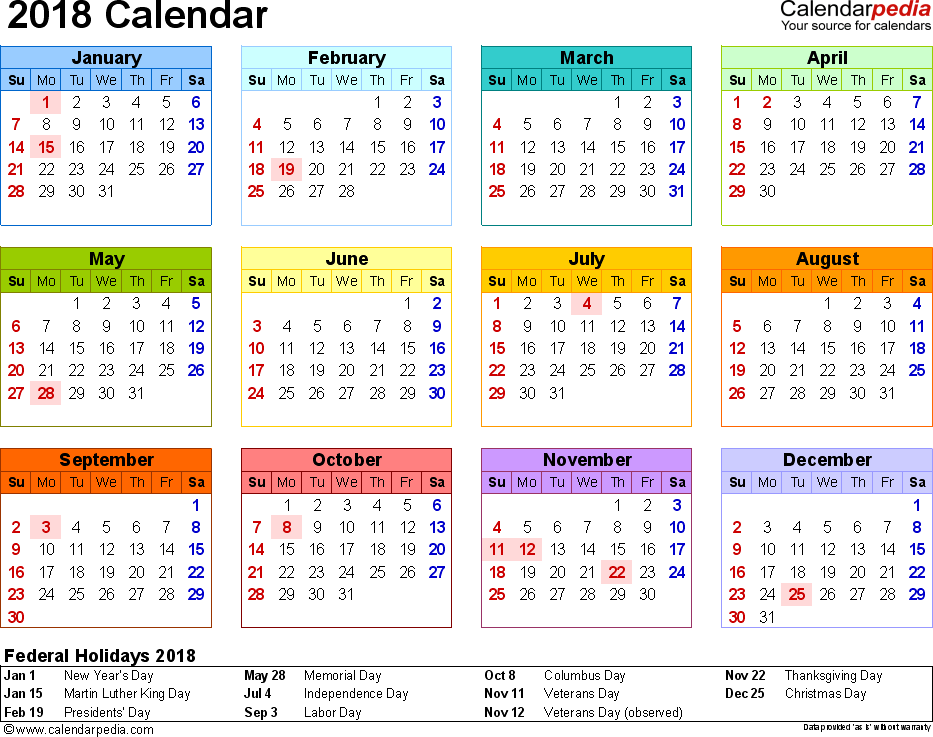 Template 8: 2018 Calendar for Word, year at a glance, 1 page, in color, landscape orientation