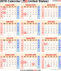 2018 Calendar with Federal Holidays & Excel/PDF/Word templates