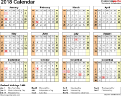 Template 9: 2018 Calendar for PDF, year at a glance, 1 page, landscape orientation