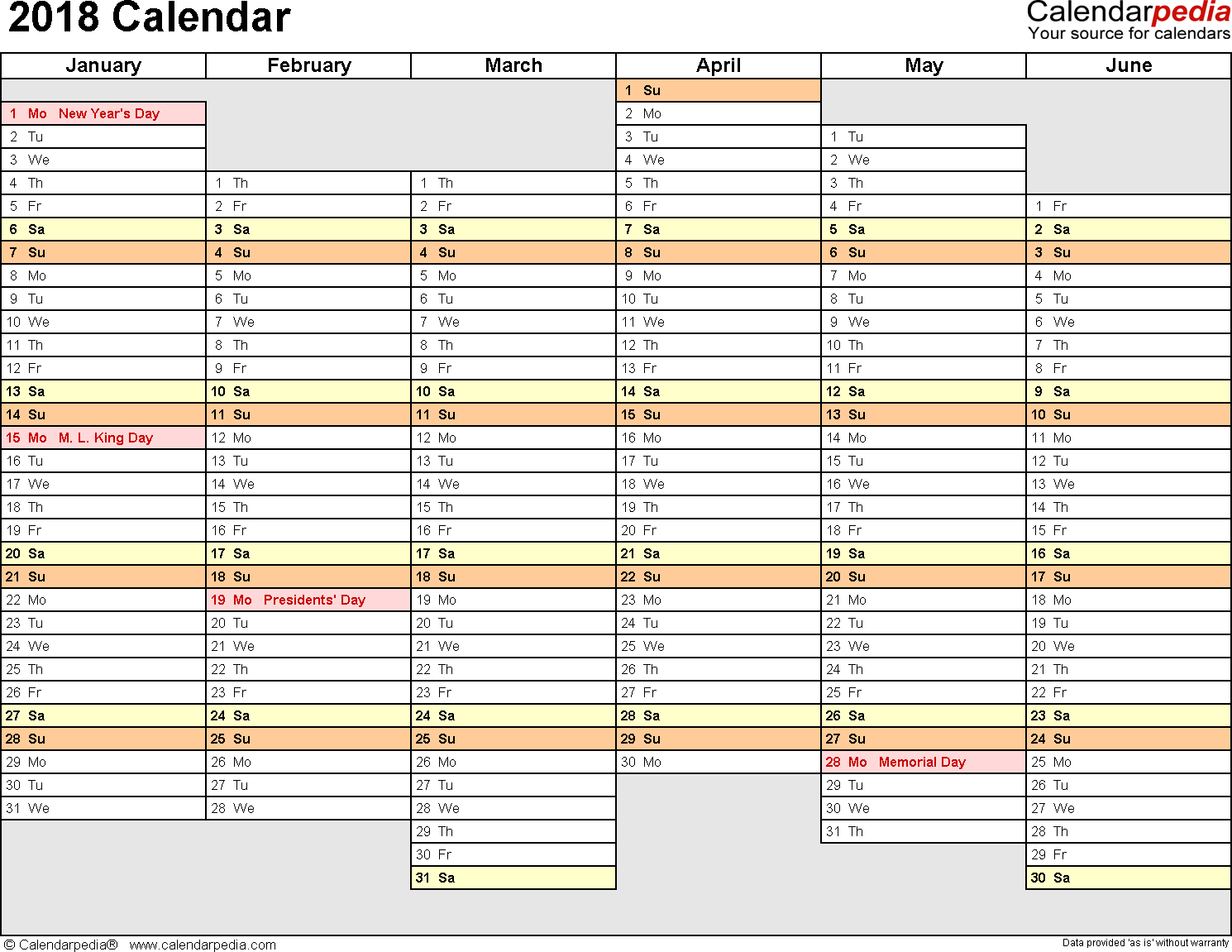 Template 6: 2018 Calendar for PDF, months horizontally, 2 pages, days of the week in line/linear, landscape orientation