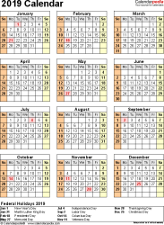 Template 17: 2019 Calendar for PDF, year at a glance, 1 page, portrait orientation