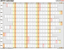 Template 7: 2019 Calendar for PDF, linear (days horizontally), 1 page, landscape orientation, days aligned