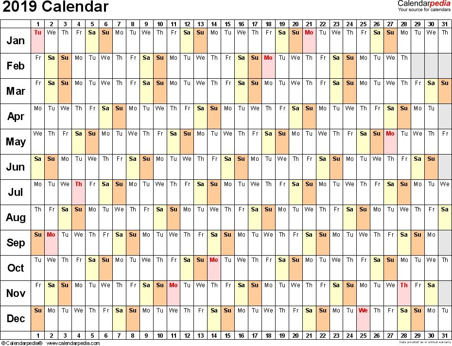 Template 6: 2019 Calendar for PDF, linear (days horizontally), 1 page, landscape orientation