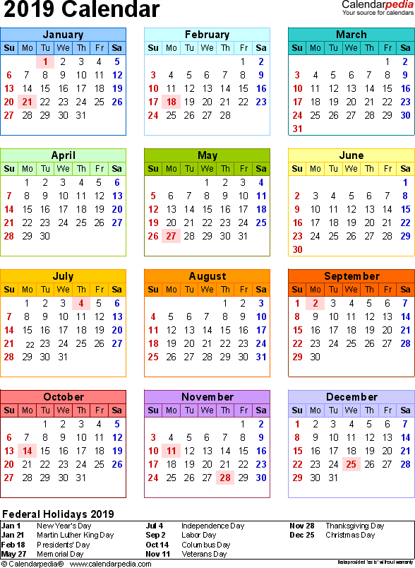 Template 16: 2019 Calendar for PDF, year at a glance, 1 page, in color, portrait orientation
